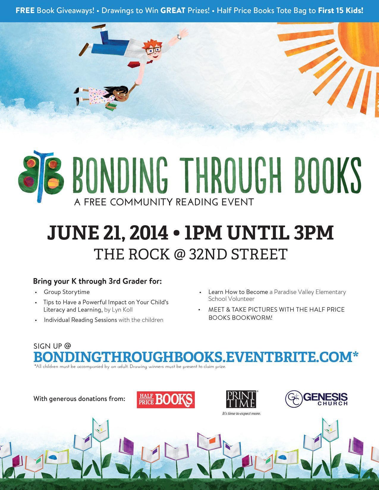 flyer example literacy flyers bonding through books community reading event flyer