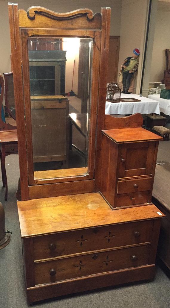 Antique Dresser Maple Hat Box Tilt Mirror 39w18d24h45h77h