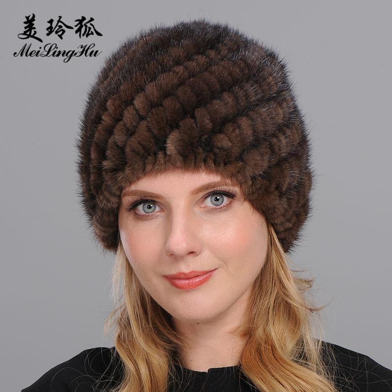 72e2e414c84 2017 New Genuine Mink Fur Hat with Ears Winter Warm Natural Real Fur Caps  Beanie Top Elastic Pineapple Hats For Women Bone Warm.