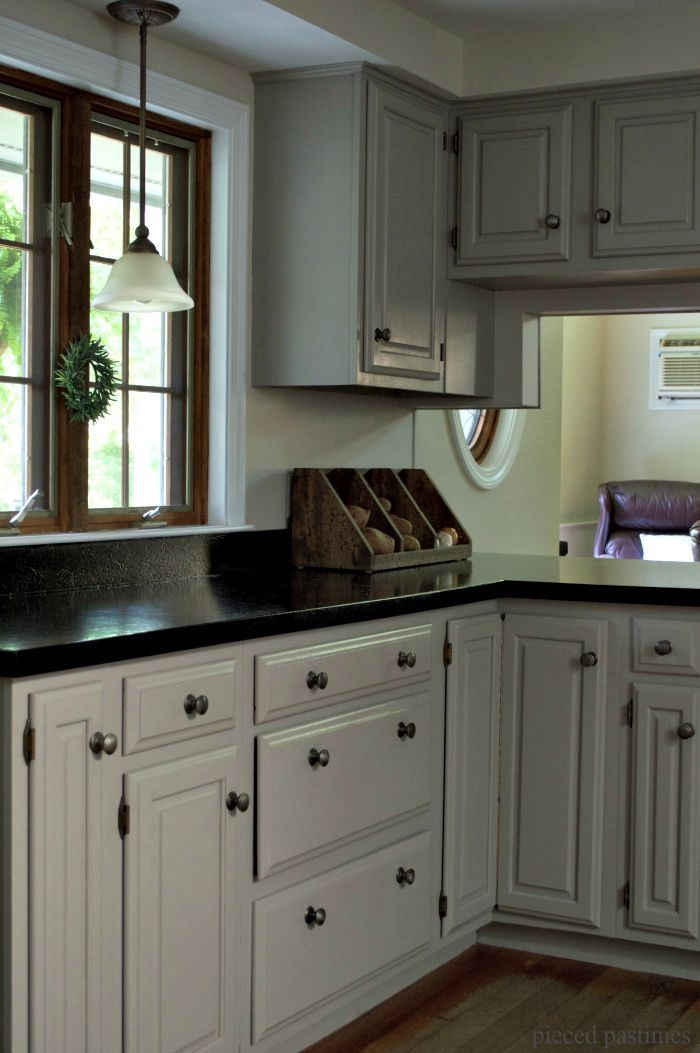 diy gray kitchen reveal an 80 s kitchen goes cottage style grey kitchen cabinets kitchen on kitchen decor grey cabinets id=93837