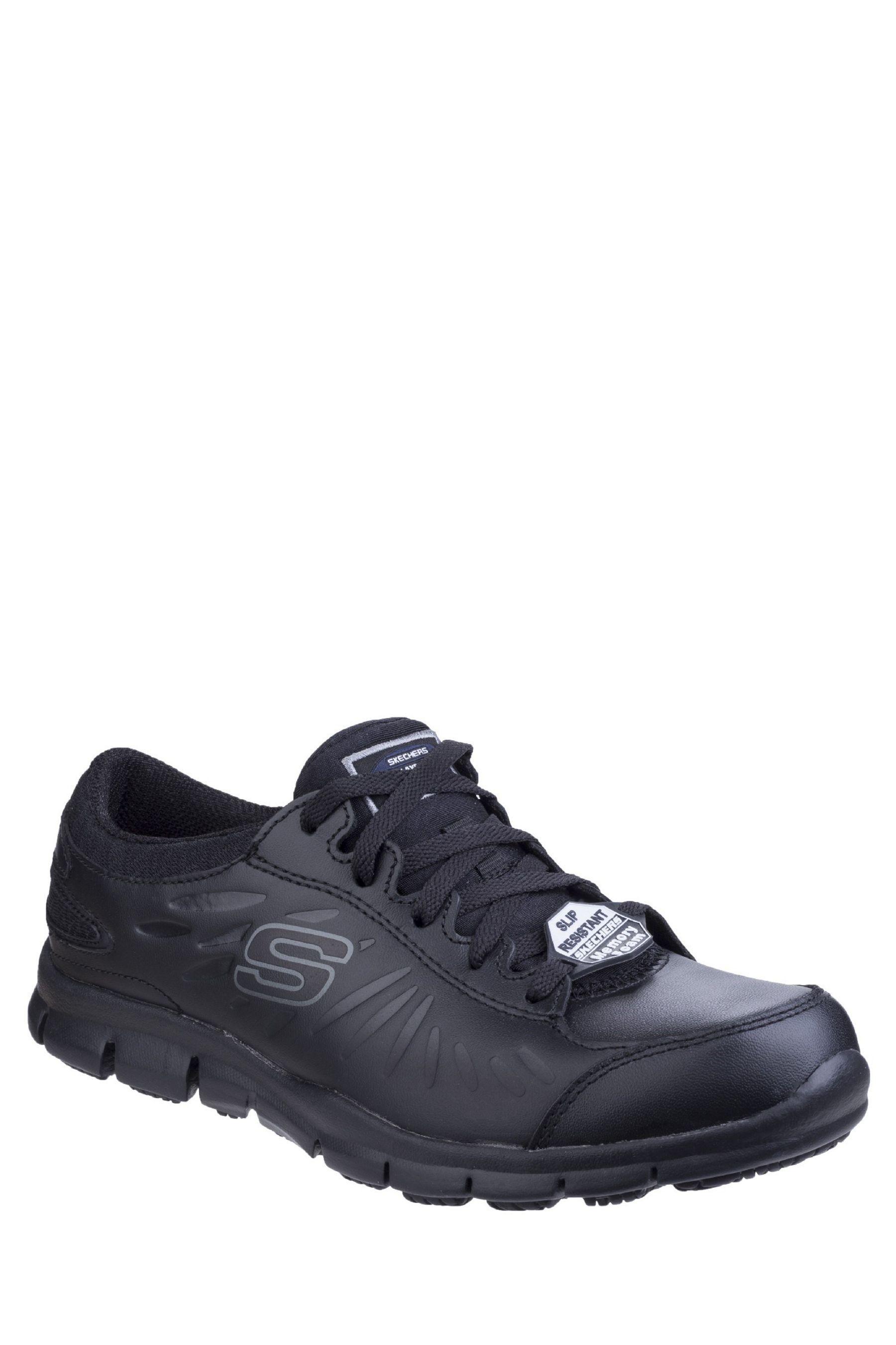 Womens Skechers Eldred Slip Resistant Lace Up Work Shoes Black