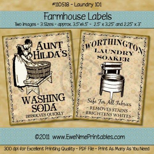 Printable Farmhouse Labels - Laundry 101 - Digital PDF File