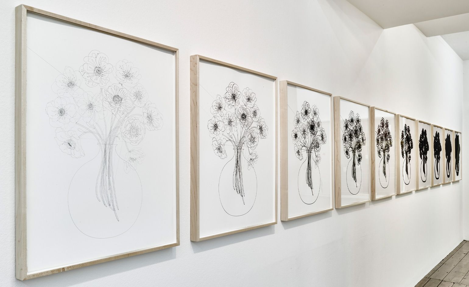 Argentinian artist Analia Saban arrives at London's Sprüth Magers | 'Fade Out' (Bouquet of Flowers, in Ten Steps) is a series of ten still lives, a line drawing of flowers grows blurred and indistinct until it is nothing but a Rorschach test blob. Courtesy of the artist and Sprüth Magers