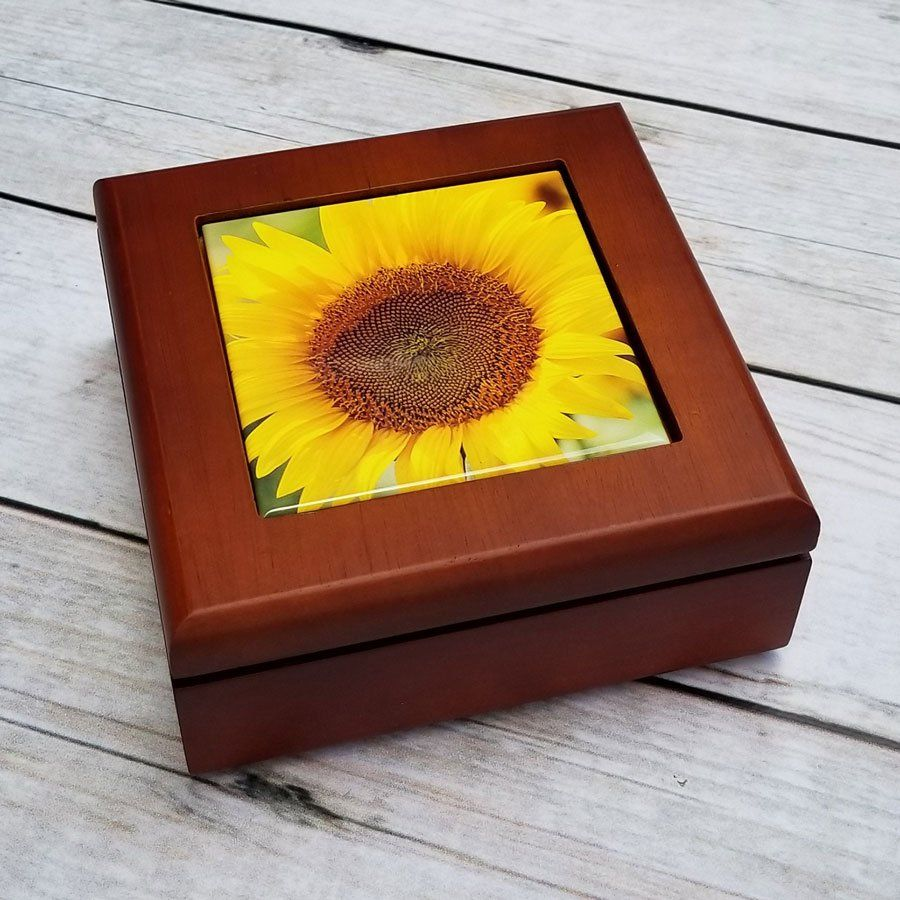Yellow Sunflower Keepsake Wooden Box, Jewelry Box