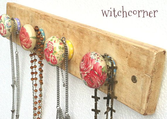 Jewelry Necklace Rack Holder Display Organiser - medium size - wooden - with 4 knobs on Etsy, $48.48