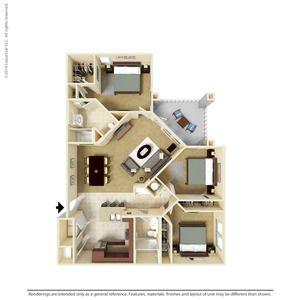 3 Bedroom 1276 Sq Ft C1-3  Ooltewah, TN Integra Preserve Floor Plans   Apartments in Ooltewah TN - Floor Plans