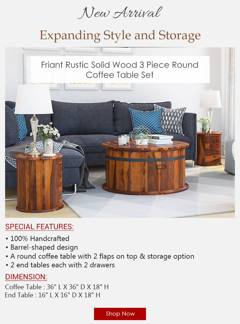 Rustic Wood 3 Piece Round Trunk Coffee Table Set Round Coffee Table Sets Coffee Table Setting Coffee Table [ 1081 x 799 Pixel ]
