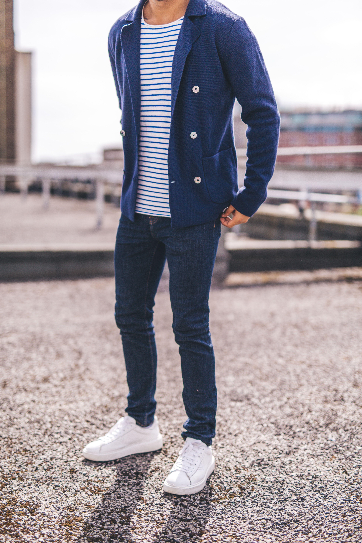 Navy Double Breasted Merino Wool Cardigan Nautical Stripe