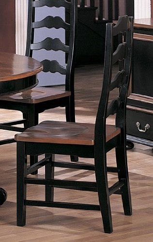 Set of 2 Country Style Black & Dark Maple Dining Side ...