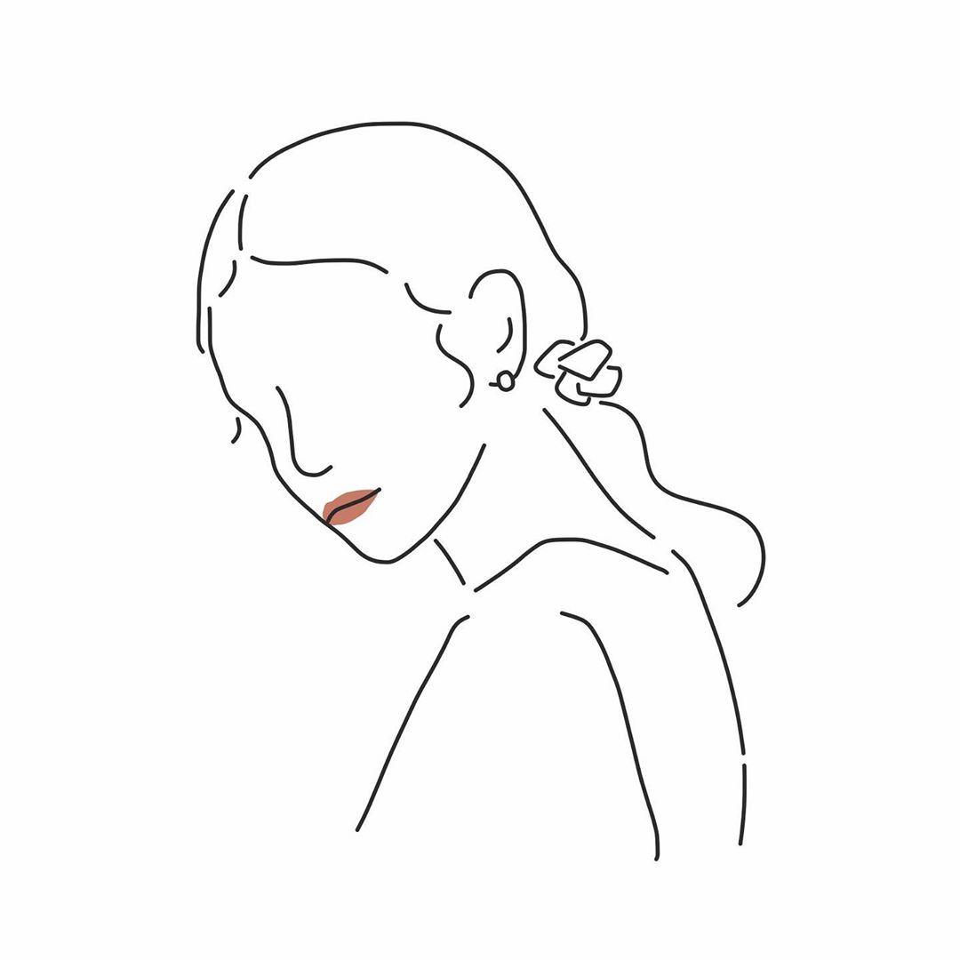 yuribo. イラストはInstagramを利用しています:「アクセサリーブランド @ciite_official  @wears_official…」 | 線画 女の子, イラスト 線画, 線画アート