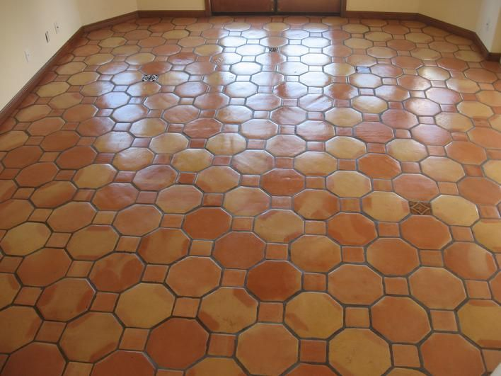 Saltillo Tile On Bathroom Floor 12 Inch Octagonal Mexican Saltillo Paver Tiles With A Semi High Gloss Saltillo Tile Tile Installation Saltillo