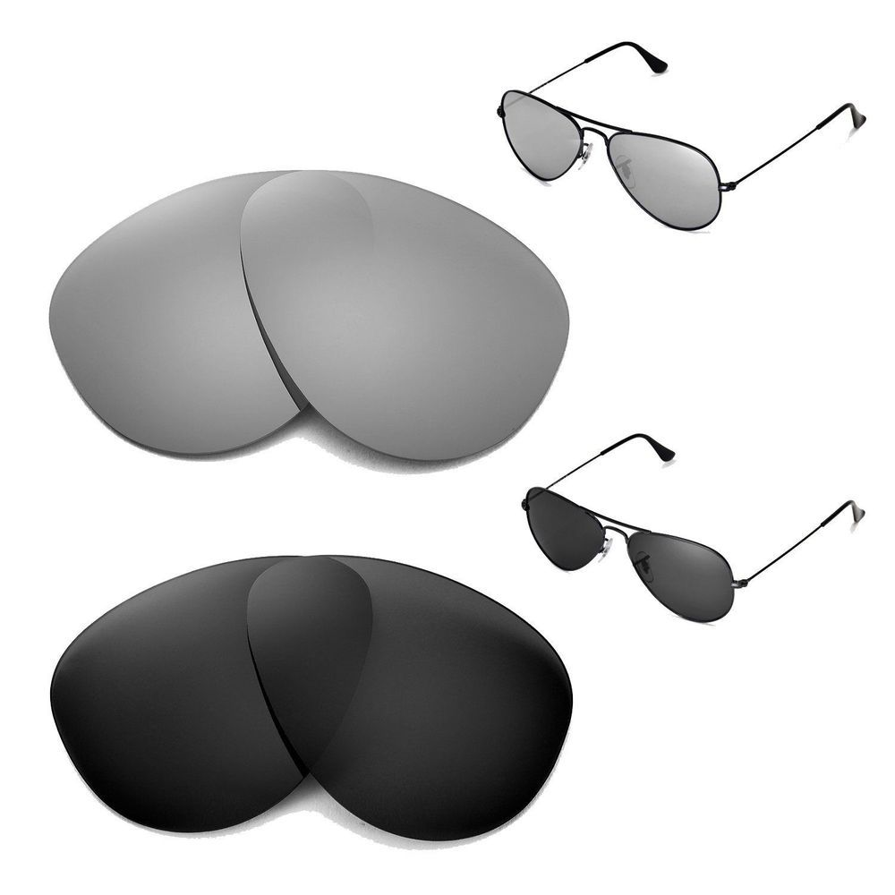 5b5365dc59 New Walleva Polarized TitaniumBlack Lenses For Ray-Ban Aviator Large Metal  55 (eBay Link)