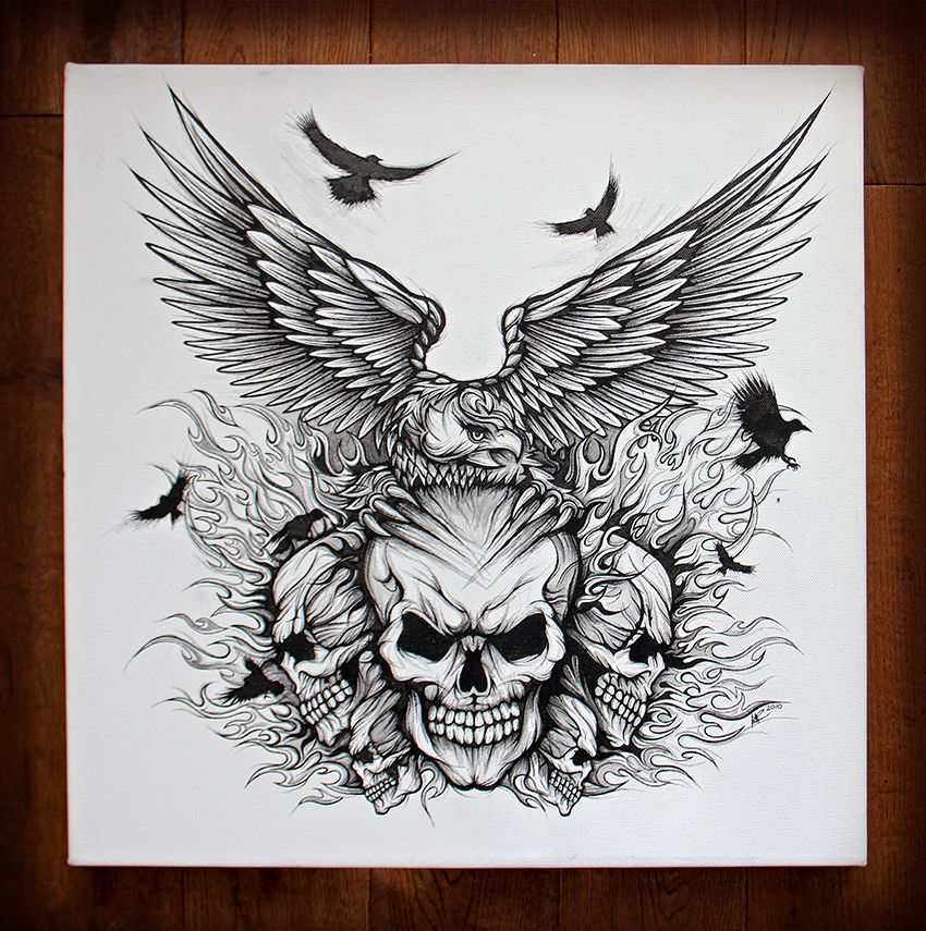 Eagle skulls pen and ink drawing on canvas hand drawn for Skull and eagle tattoo