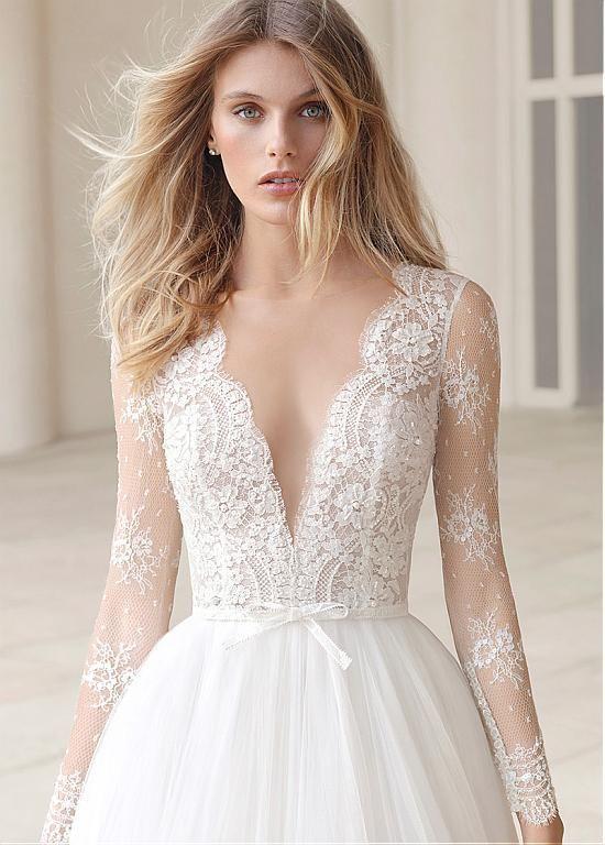 Lace Jewel Ausschnitt 2 in 1 Brautkleid mit abnehmbarem Rock & Perlen – Hochzeit und Braut – Brautkleider Vintage