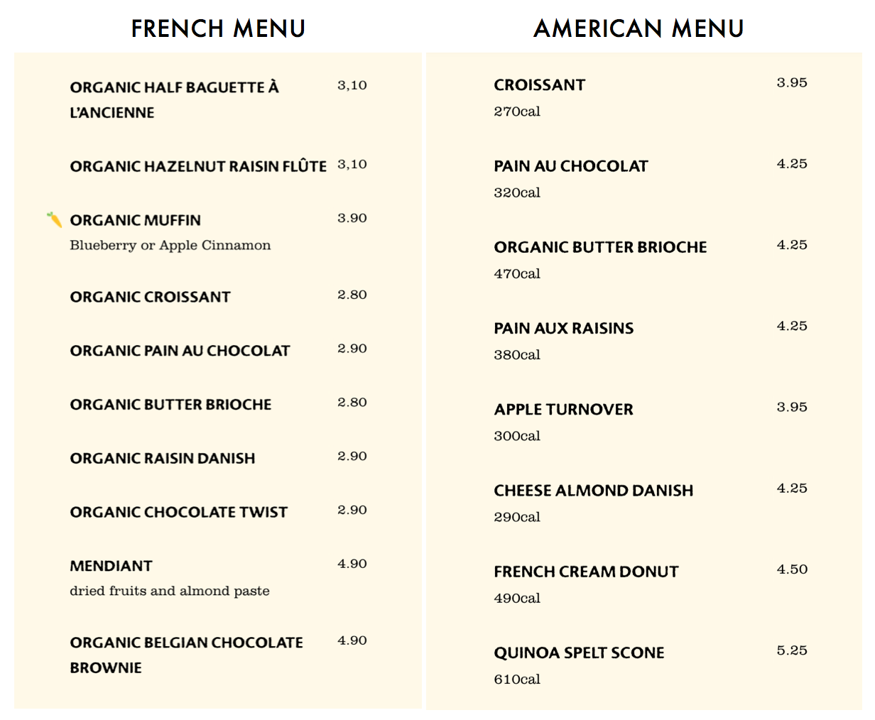 Le Pain Quotidien French and American breakfast and pastry menu