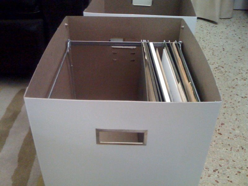 ikea hackers hanging file boxes office pinterest