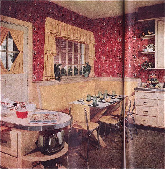 Yellow Kitchen Theme: 1952 Red & Yellow Kitchen By American Vintage ...