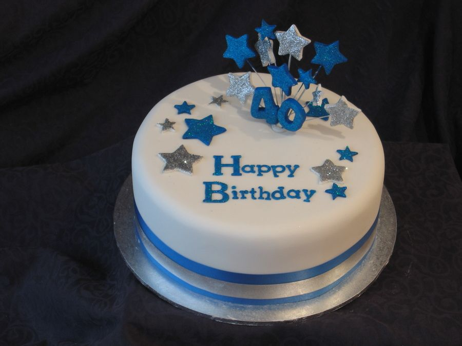 Metallic Blue And Silver Star Birthday Cake Round 10 Inch Dark Chocolate Mud Covered In Ganache A Thin Layer Of