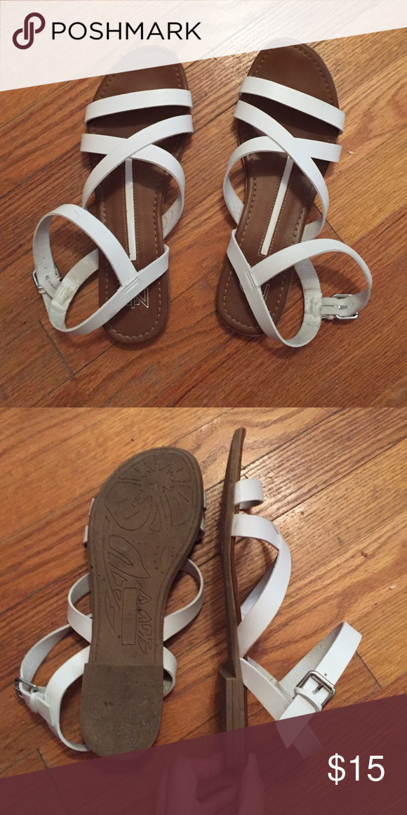 White sandals New Directions white sandals. Only worn a handful of times. In great condition!! Strapped sandals, strap around the ankle with a buckle. **send offers** Shoes Sandals