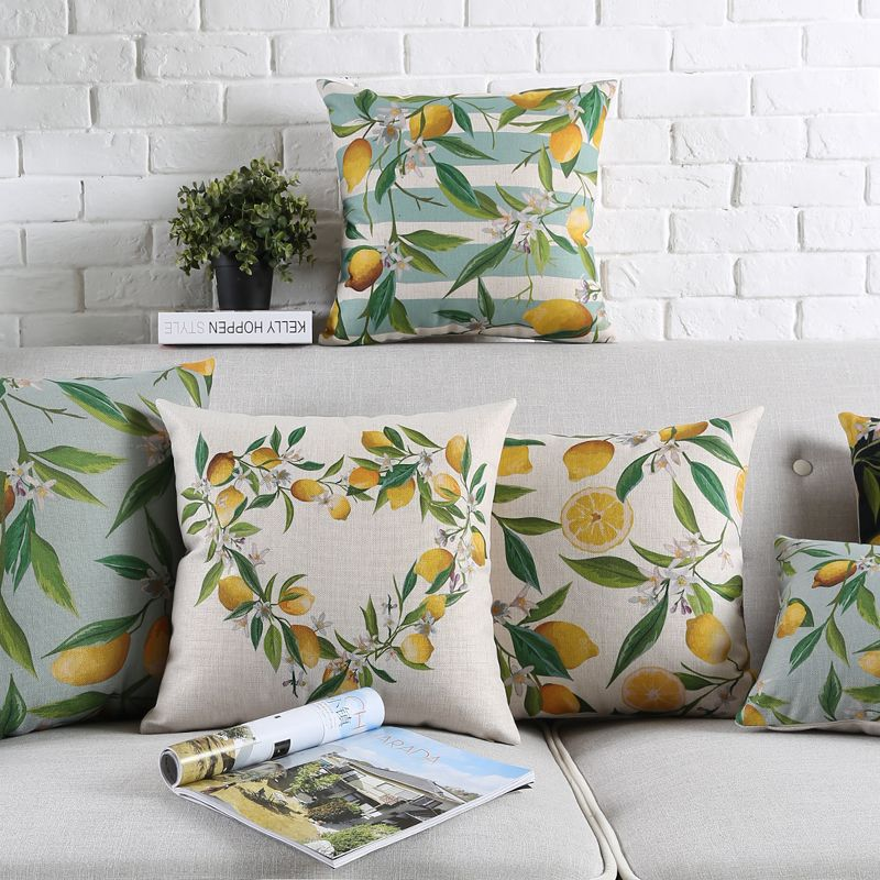 Fresh Lemon Cotton Linen Cushion Cover Home Sofa Decorative Throw