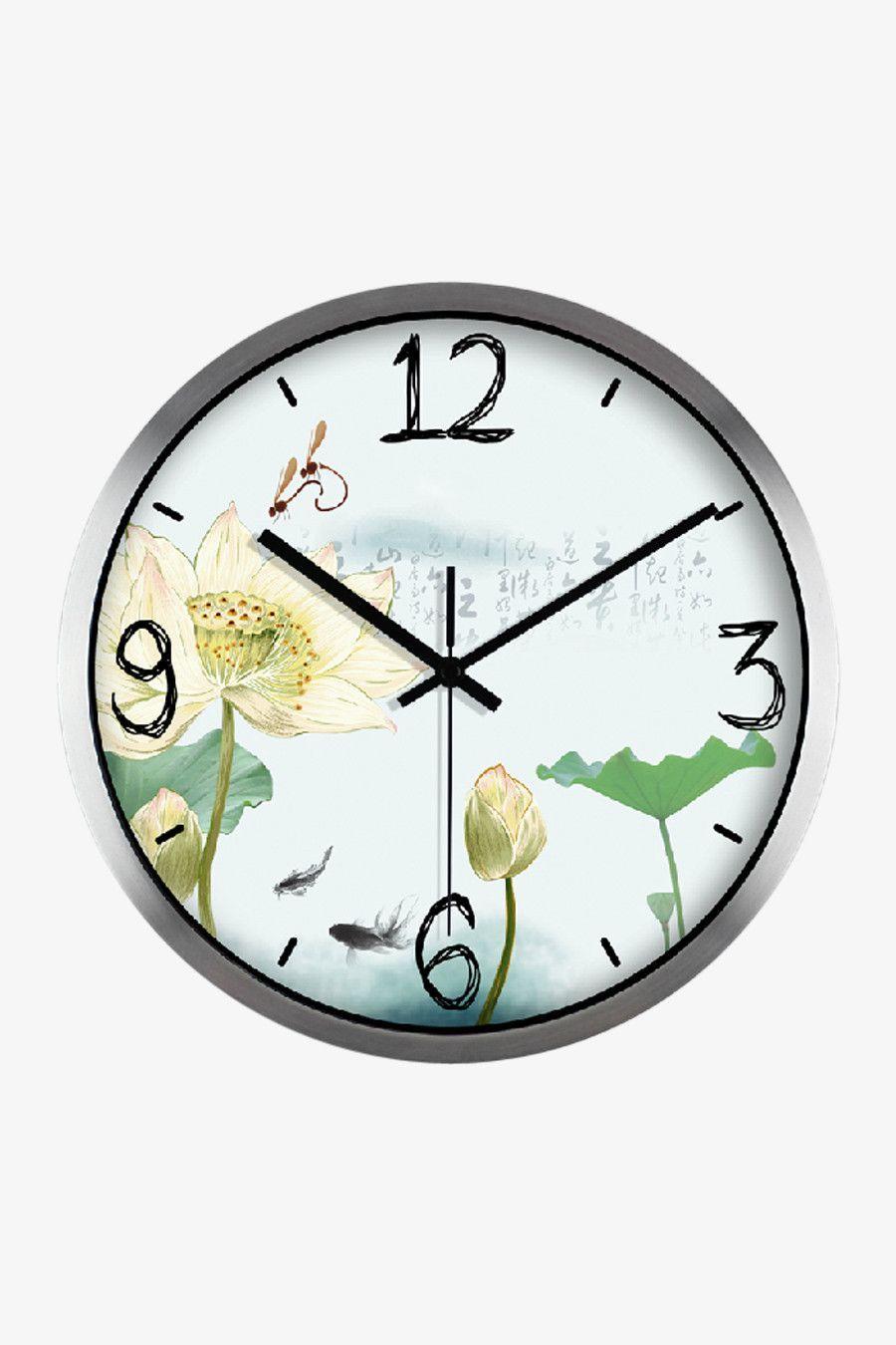 Lotus Print Clock Silver Satin Wall Clock Painting Floral Clock