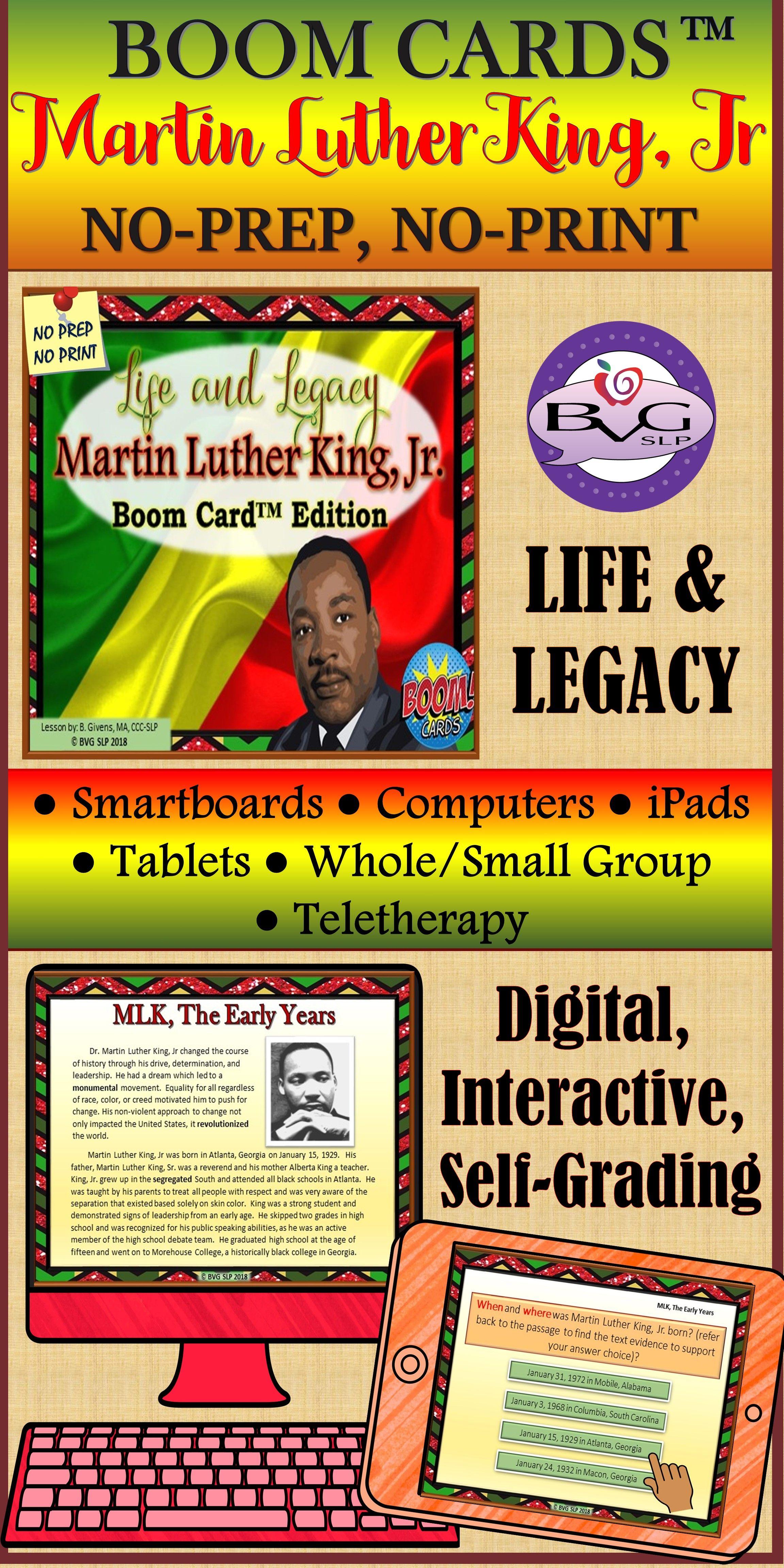 Martin Luther King Jr Boom Cards Comprehension Unit No