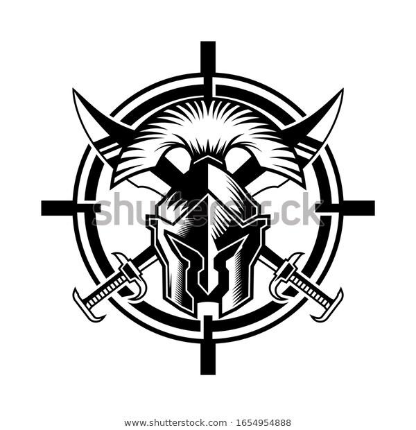 Spartan Helmet Sword Circle Shape Logo Stock Vector Royalty Free 1654954888 In 2021 Spartan Helmet Circle Shape Stock Vector