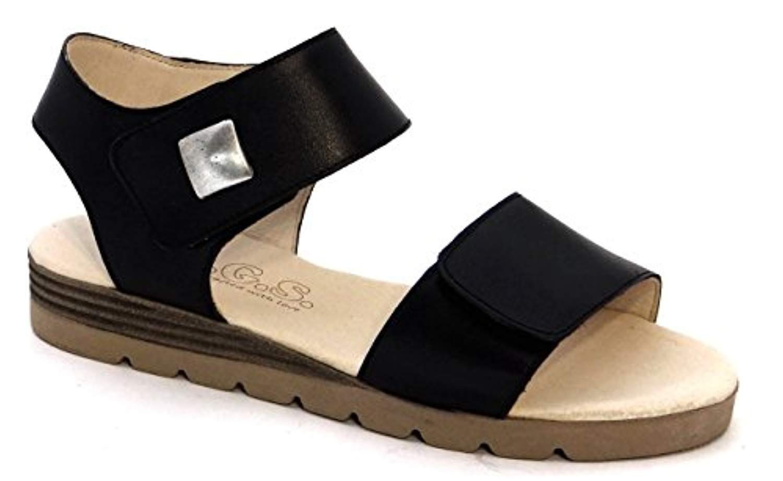 OGSwideshoes Salento Black Extra Wide Fit Flat Sandals 3E