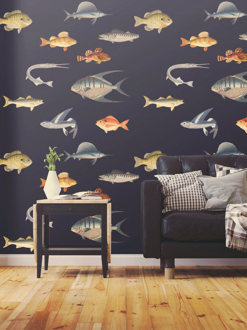 Ocean Wallpaper Removable Nautical Wallpaper Fish Wallpaper Etsy Nautical Wallpaper Ocean Wallpaper Fish Wallpaper