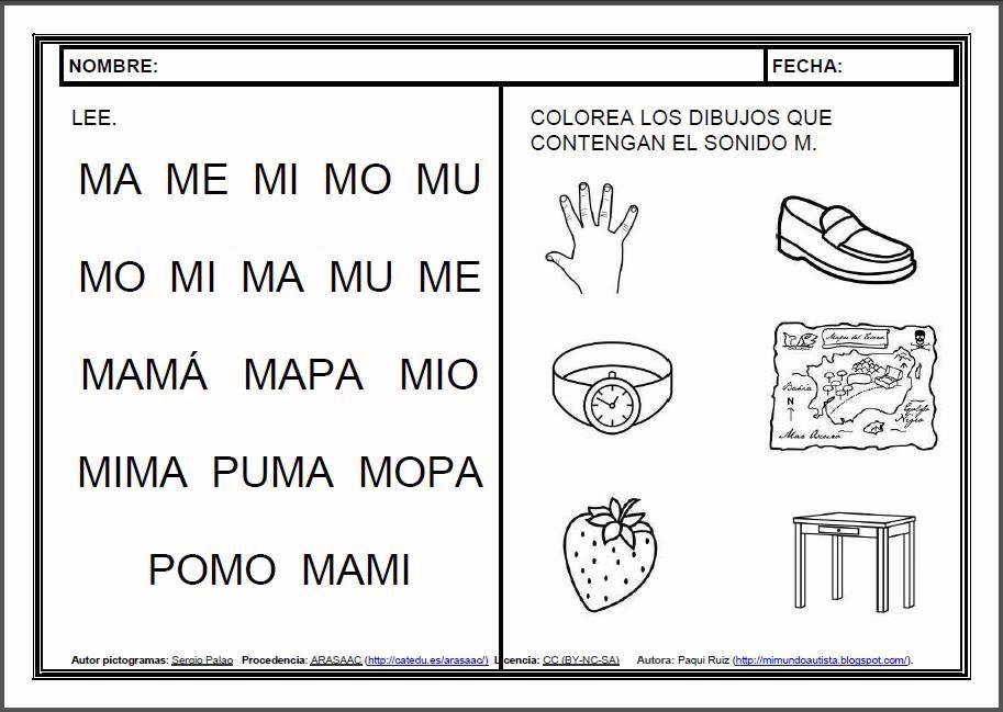 Materiales Fichas De Lectoescritura M Fichas Para El Aprendizaje De La Lectoescritura En Lectura Y Escritura Lectura De Palabras Actividades De Letras