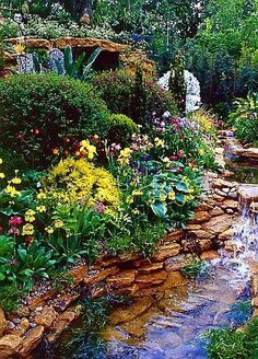 Beautiful Flower Gardens Waterfalls Bzfyxi