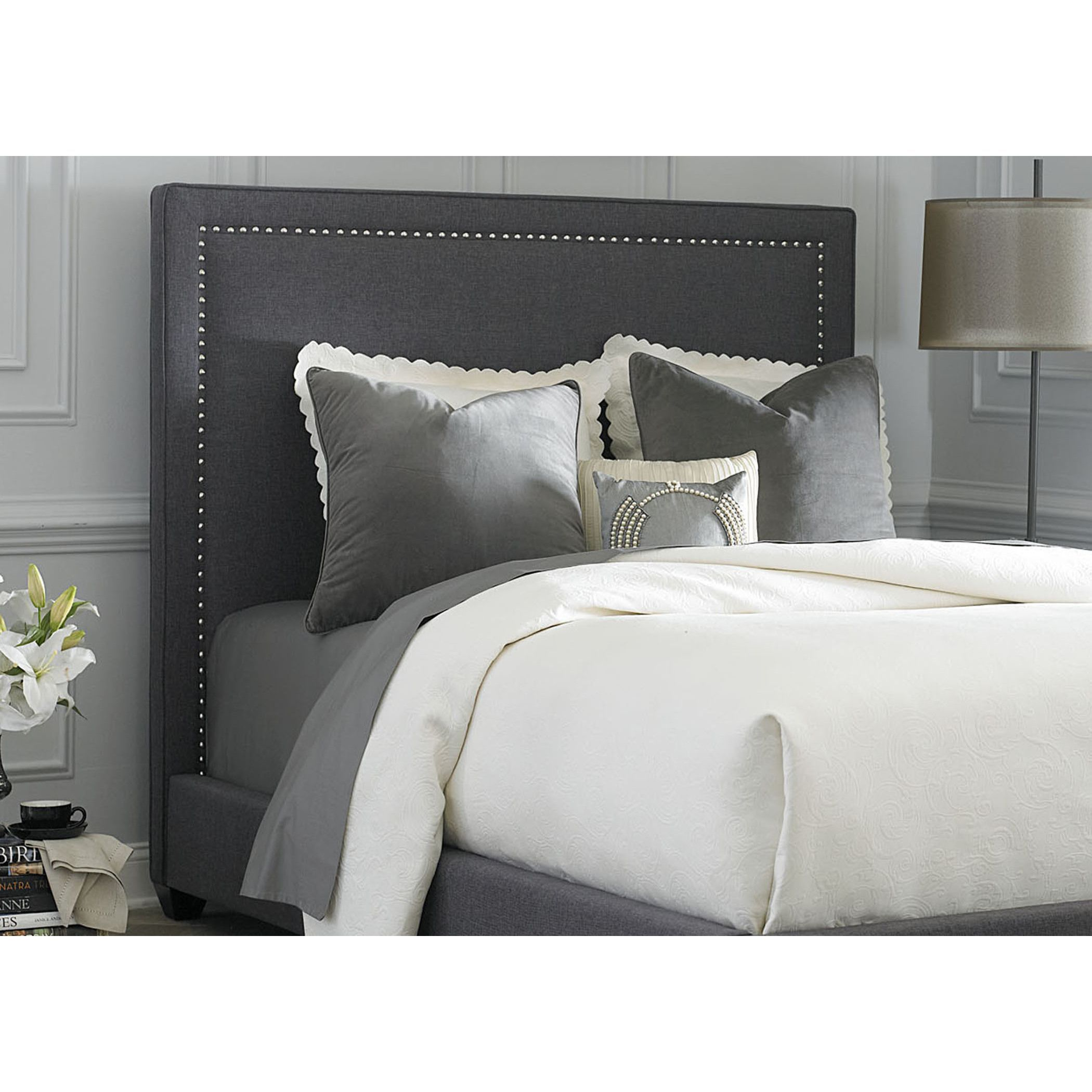 Best Liberty Dark Gray Linen Upholstered Panel Bed Set 400 x 300