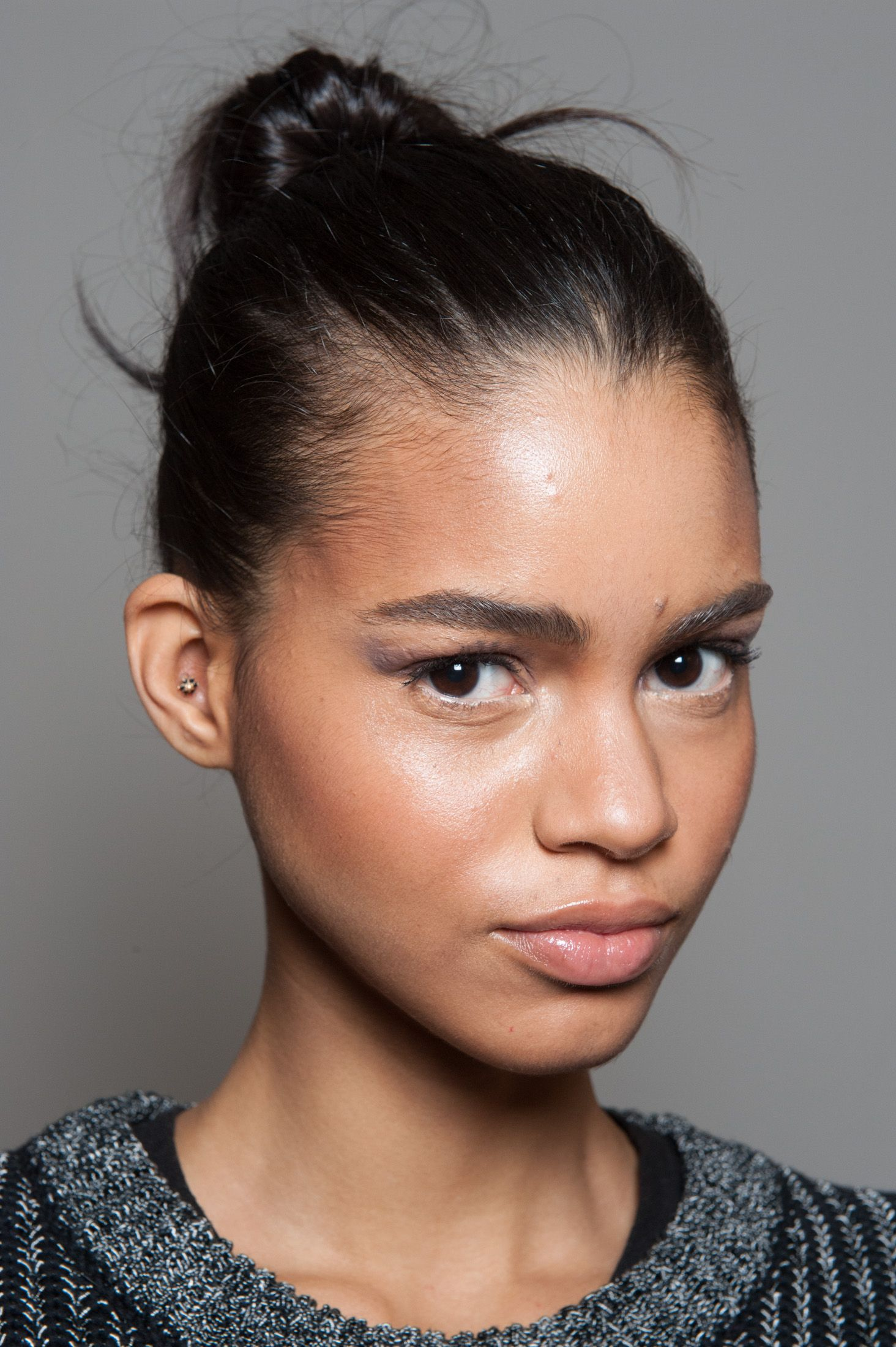Model backstage at our Fall 2014 Runway Show. Skin | Easy hairstyles, Hair styles, Holiday hair ...