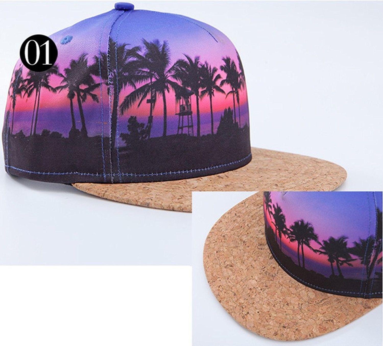 FREE SHIP Hawaiian Printed Visor Flat Bill Adjustable Snapback Baseball Cap