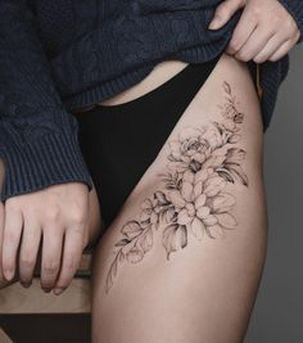 20 Casual Small Flower Tattoos Ideas For Women That Looks So Cute Flower Thigh Tattoos Hip Tattoos Women Floral Thigh Tattoos