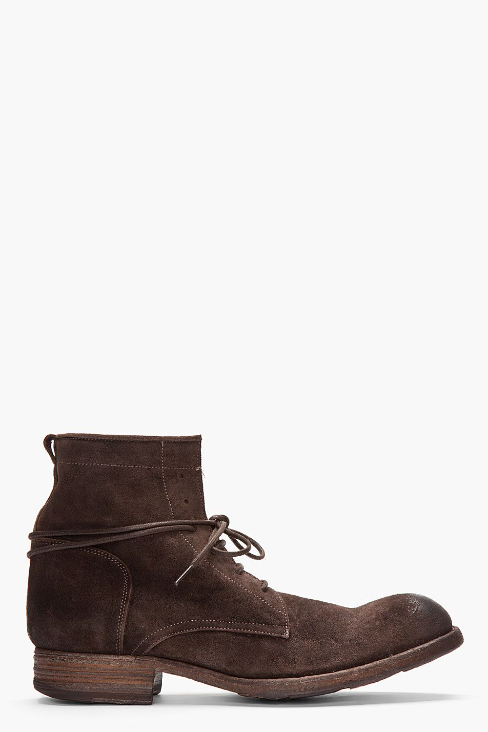 Officine Creative Brown Distressed Suede Shine Boots for men