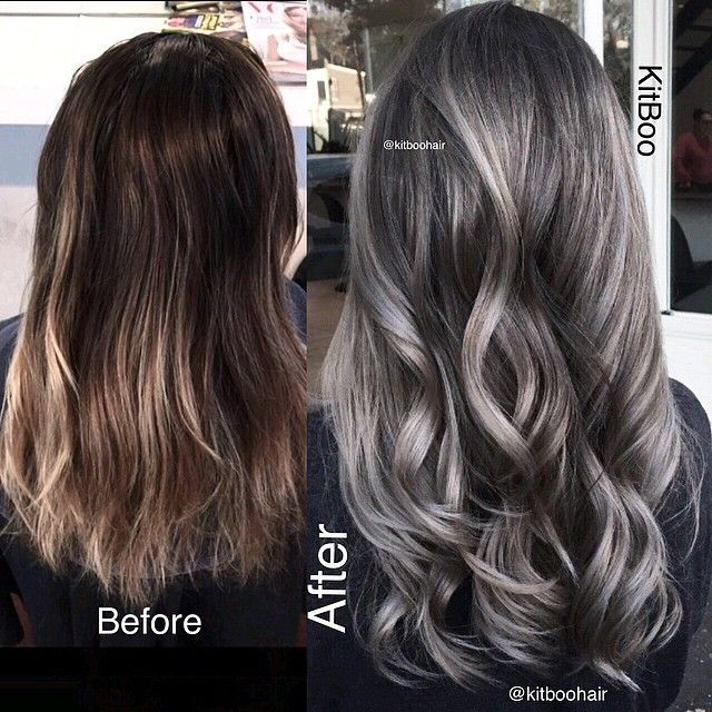 Image Result For Dark Brown Hair With Silver Highlights Hairstyles