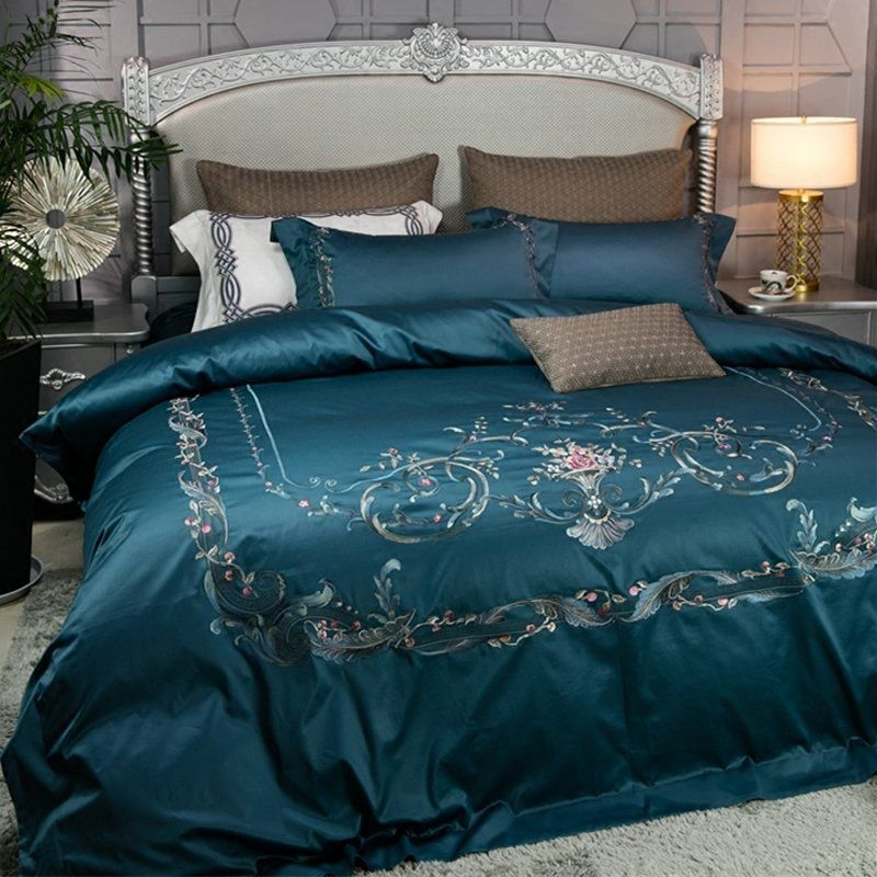 Noble Excellence Villa Dark Teal Embroidered Folklore Floral Border Vintage Shabby Chic Luxury Satin Full Q Bed Linens Luxury Comfortable Bedroom Bedding Sets