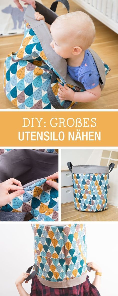 Nähanleitung für ein schnell genähtes Utensilo, sorgt für Ordnung im Kinderzimmer / diy sewing tutorial: quick sewn bag prevents chaos in the kid's room via DaWanda.com #projetsdecouturedébutants