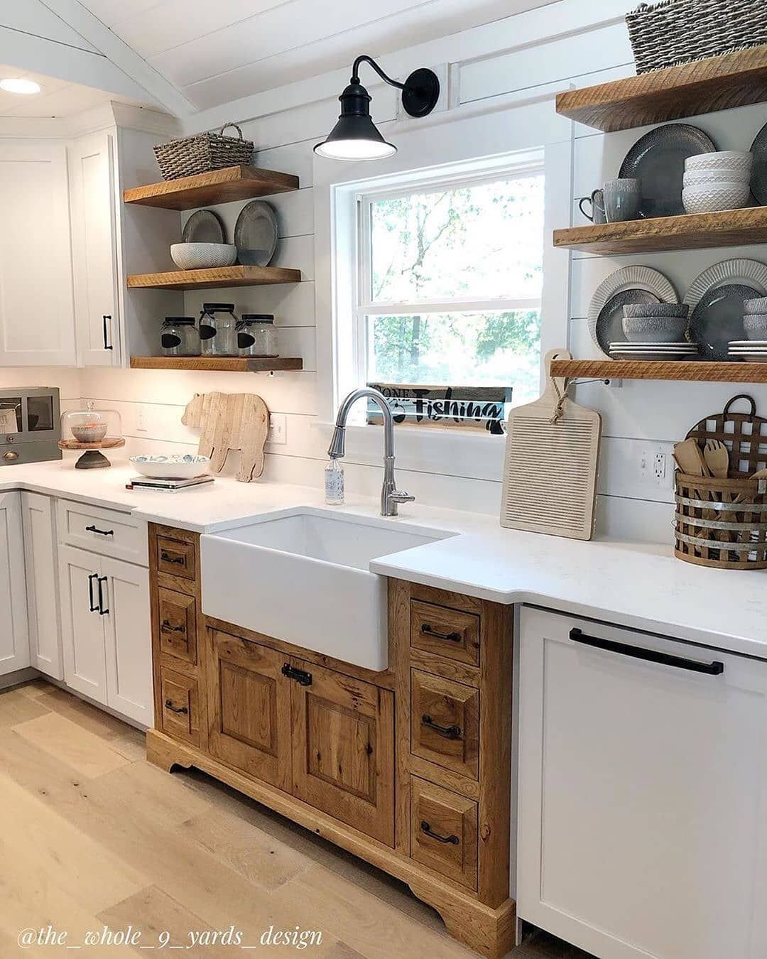 What Do You Think Of This Cute Farmhouse Kitchen We Really Like The Split Cabinets And Open Rustic Kitchen Design Farmhouse Kitchen Remodel Kitchen Remodel Farmhouse kitchen remodel ideas
