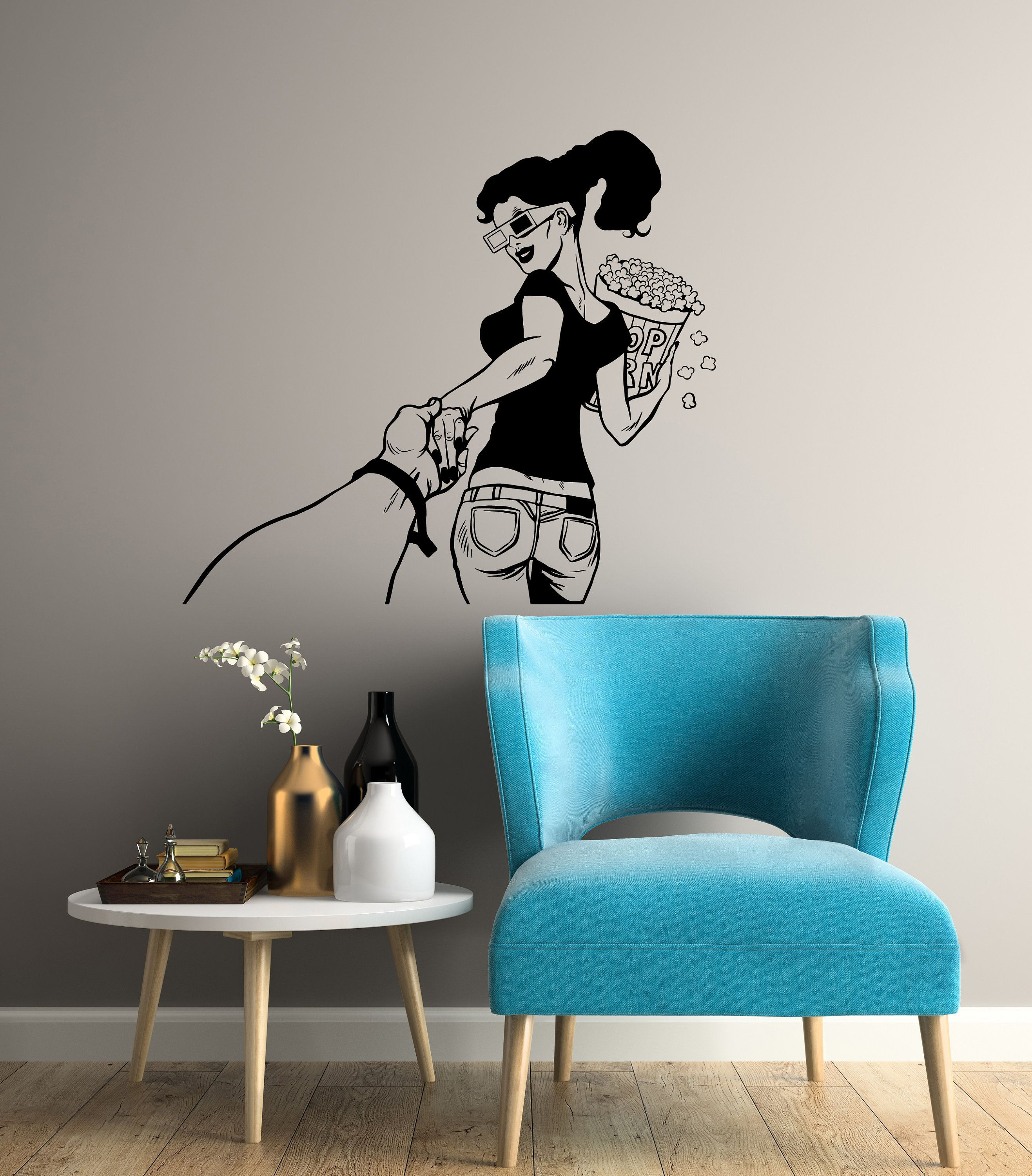 Cinema Vinyl Wall Decal Movie Lover Girl Film Room Decor Etsy Vinyl Wall Decals Modern Wall Stickers Vinyl Wall