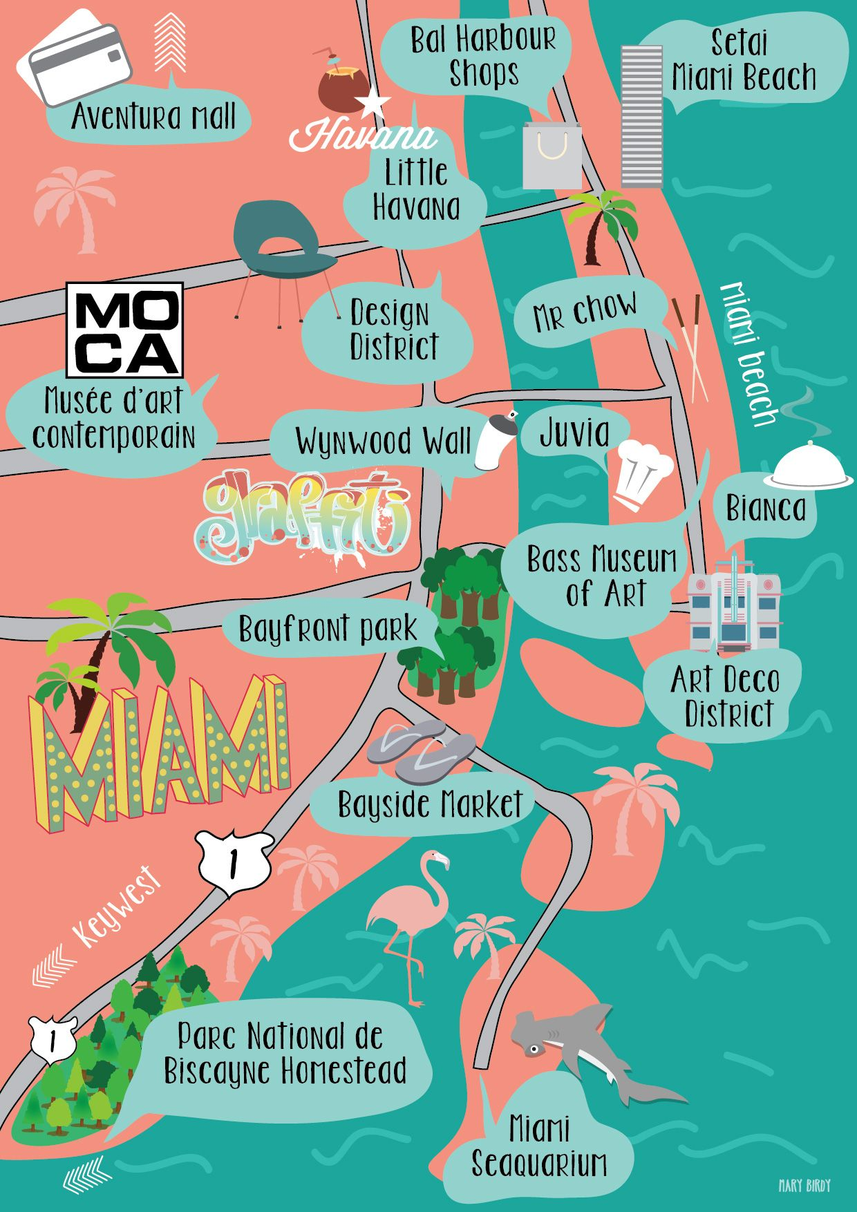 carte miami par mary birdy illustration map miamimary