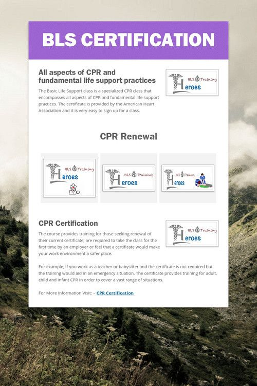 bls renewal cpr certification heart association certificate basic support training smore