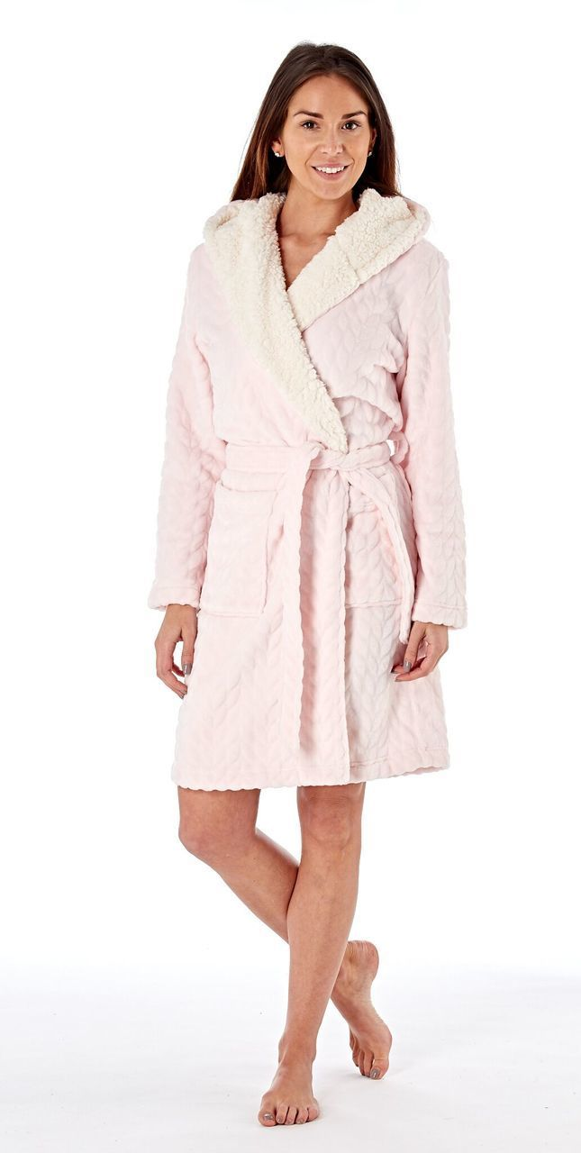 Ladies Textured Fleece Sherpa Lined Hooded Bath Robe: Pink