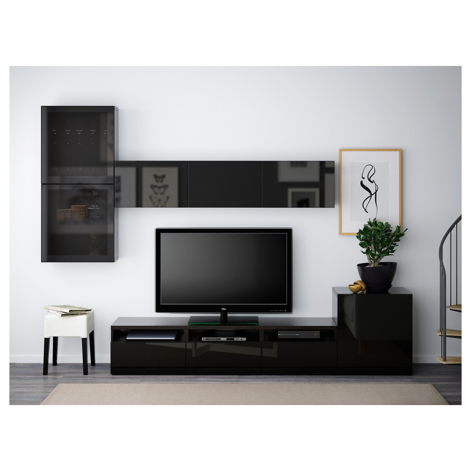 Ikea Besta Tv Storage Combination Glass Doors Black Brown Selsviken Ikea Living Room Living Room Entertainment Living Room Tv Wall