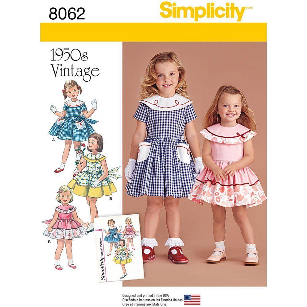 Simplicity 8062bb Vintage 1950/de Robe pour b/éb/é et Enfant/» Patron de Couture Papier