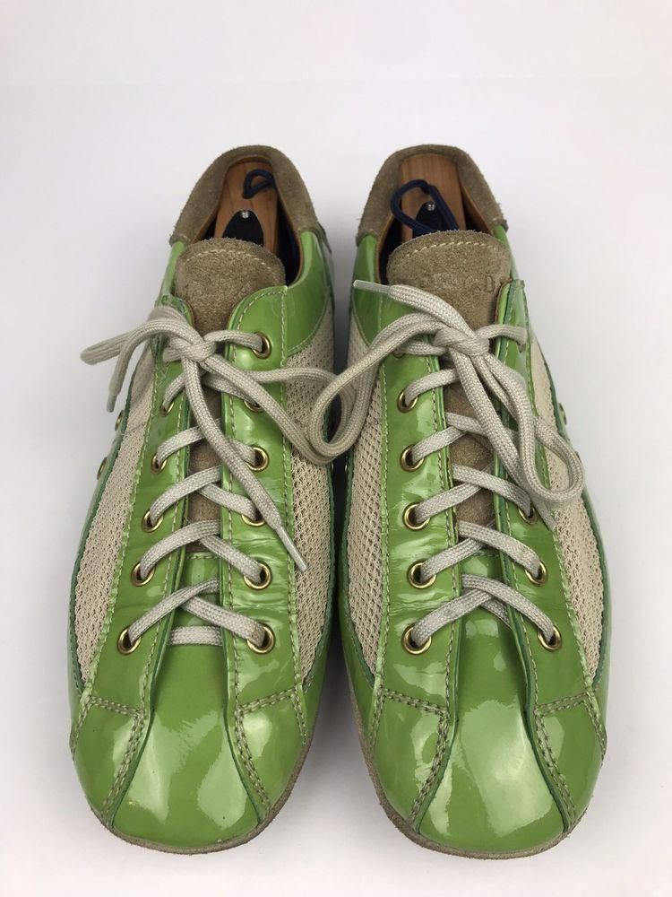 Prada x Car Shoe Driving Sneakers Patent Leather   Mesh Green Womens Size  US 9  fashion  clothing  shoes  accessories  womensshoes  athleticshoes  (ebay ... 7b17ea4d49