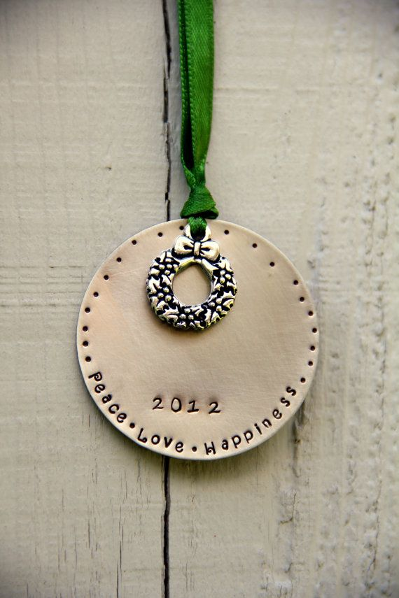 Chic Ornament Peace Love Happiness Christmas by whiteliliedesigns, $22.00