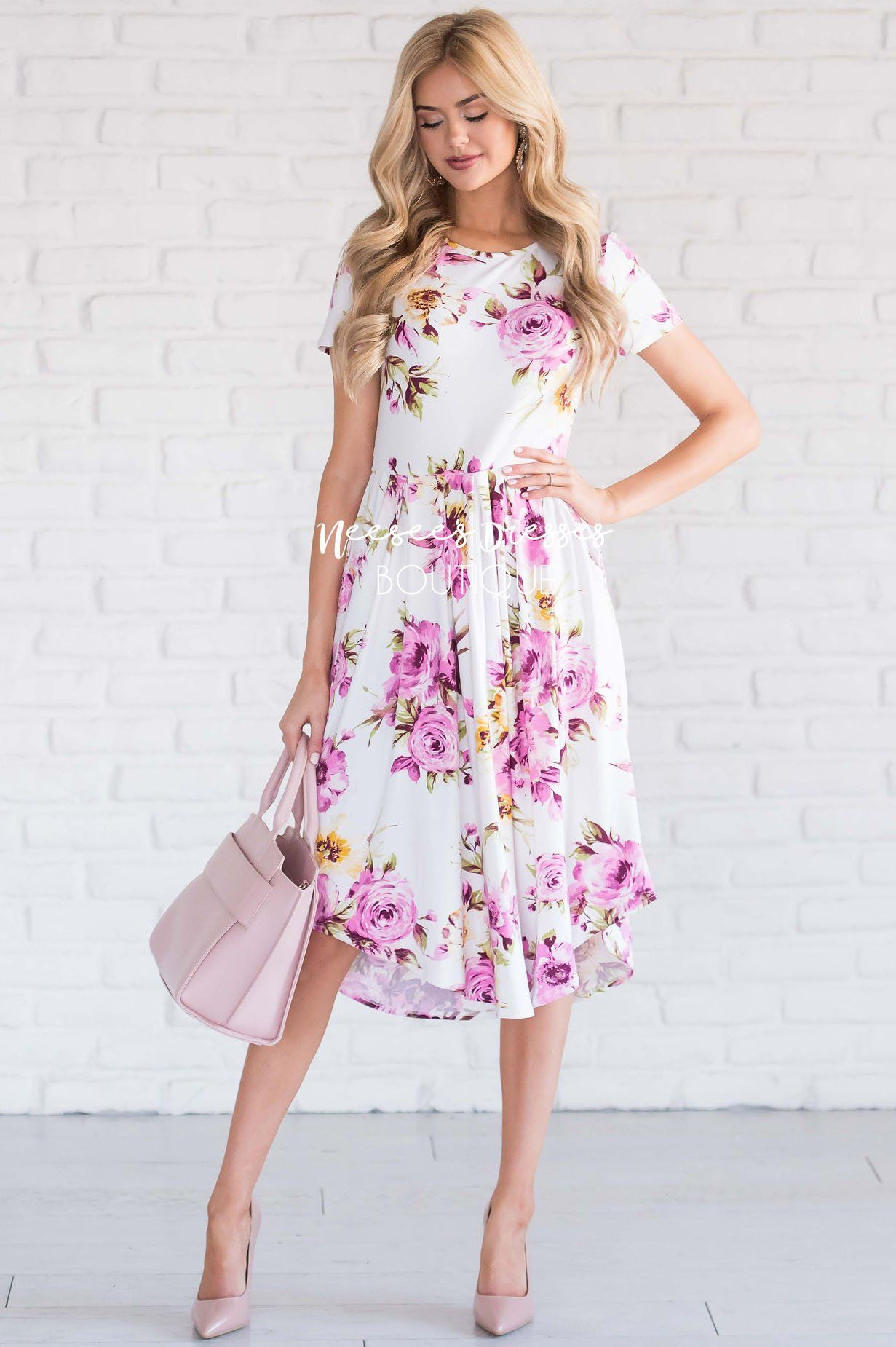 Ivory Orchid Yellow Carnation Floral Pocket Dress | Best Modest Boutique - Neesee's  Dresses | Modest dresses, Neesees dresses, Dresses
