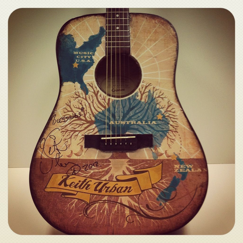 Bid on this guitar inspired and autographed by Keith Urban in the Guitars of the Stars Auction at CMA Music Fest on June 7 at 5pm!